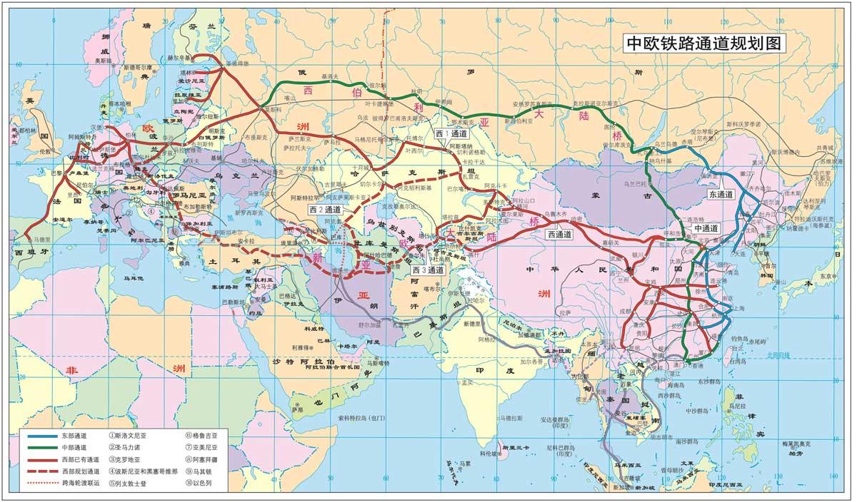 中欧铁路路线图